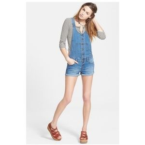 Free People Overall Shorts Button Front